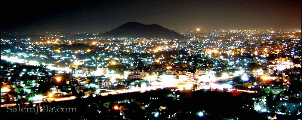 Night view of Salem city from Oothu malai